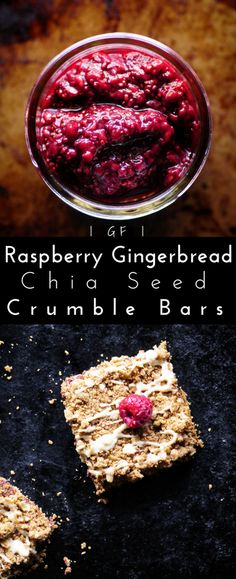 Raspberry Gingerbread Chia Seed Crumble Bars with White Chocolate Drizzle (Gluten Free) #raspberry #chiaseeds #jam #gingerbread #bars #crumble #glutenfree #whitechocolate