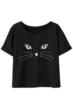 Black Cat Face Print Short Sleeve GraphicTee Colete De Camiseta, Cara De  Gato, Estilo 0929dd8d9a