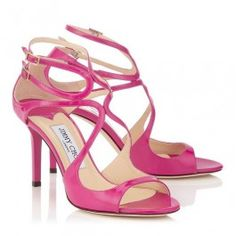 """Strappy Mid Heels 85mm Jimmy Choo Ivette Aegean/Jazzberry/Neon Flame Patent Leather Sandals Comfortable for Wear These mid heel sandals offer perfect round the clock style. Designed to flatter and support the foot, """"Ivette"""" is made in Italy. this iconic design will ensure you are elegantly dressed for any occasion. Heel measures 85mm/3.3''. Patent leather upper Leather lining and sole  http://www.clheelsale.com/jimmy-choo/jimmy-choo-sale.html"""
