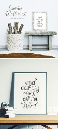 """Make a 16 x 20 canvas print with this free download. """"Start Each Day with a Grateful Heart"""" is a beautiful quote to inspire you each day! This unique work of art, with eye-catching typography and illustrated hearts will add some flare into your living space. I love that plaid has made a comeback! Light Grey tartan is a classic look that can work in almost any room. Makes a great DIY Gift!"""