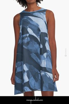 Turning Tide Navy Blues by Menega Sabidussi Women Casual Designer Print Clothing Clothing Apparel, Abstract Shapes, Wearable Art, Turning, Designer Dresses, Dress Skirt, Chiffon Tops, Print Design, Blues