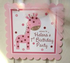 NEW  Pink Giraffe Welcome Sign for Birthdays Baby by ciaobambino, $12.00