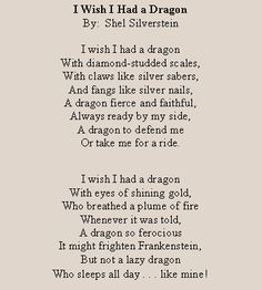 Rain Shel Silverstein Poems | Text Box: I Wish I Had a DragonBy: Shel SilversteinI wish I had a ...