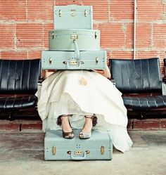 Light blue vintage suitcases...my mom had this luggage