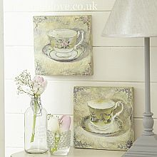 Antiqued Teacup Pictures - Pair