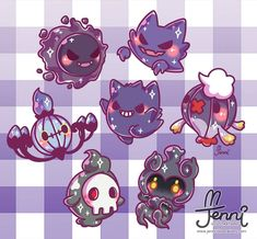Some cute ghost Pokemon to darken your day 💜👻💀👀 . Ghost Pokemon, Mega Pokemon, Pokemon Eevee, Pokemon Fan Art, Kawaii Doodles, Cute Kawaii Drawings, Cute Animal Drawings, Animes Wallpapers, Cute Wallpapers