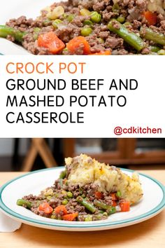 This yummy dish is sort of like a slow cooked shepherd's pie. It has a ground beef and vegetable base that is topped with a creamy mashed potato layer. You can use whatever kind of frozen vegetables you like in this recipe - and no need to thaw them before adding to the ground beef mixture.  | CDKitchen.com
