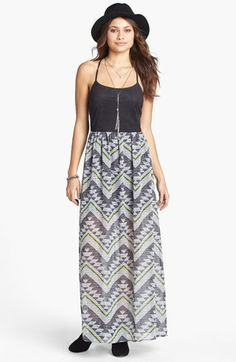 Mimi Chica Suede Bodice Maxi Dress (Juniors) | Nordstrom