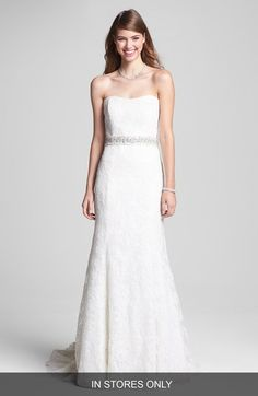 BLISS Monique Lhuillier Strapless Lace Wedding Dress with Beaded Waist (In Stores Only) available at #Nordstrom