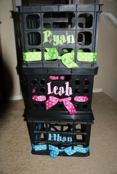 Crates to organize children's school work and papers...LOVE this idea!