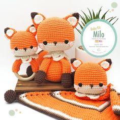 Amigurumi Baby Kit Fox Milo (fox, baby blanket and rattle) / Tarturumies Crochet Pattern PDF Crochet Amigurumi, Crochet Fox, Amigurumi Patterns, Crochet Patterns, Amigurumi Toys, Double Crochet Decrease, Half Double Crochet, Kit Bebe, Baby Kit