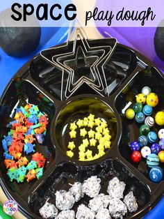 Space play dough tray Space theme activities and centers (literacy, math, fine motor, stem, blocks, sensory, and more) for preschool, pre-k, and kindergarten