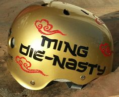 Ming Die-Nasty: Rose City Rose Petals custom painted roller derby helmet, 2013