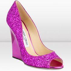Hot pink sparkly Jimmy choo peep toe wedges.