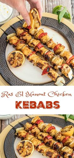 Ras El Hanout Chicken Kebabs - marinated in ras el hanout, garlic, lemon juice, olive oil, then grilled and served with a lemon-mint Greek yogurt sauce! So quick and delicious!