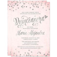 Blush Pink Quinceanera Invitations Party Quince Invitation Cards