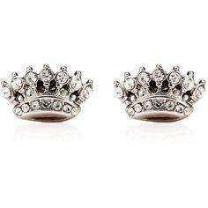 Crown Stud Earrings ($48) ❤ liked on Polyvore