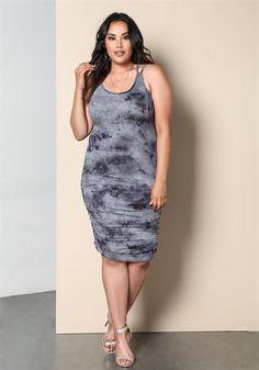 Plus Size Tie Dye Ruched Dress