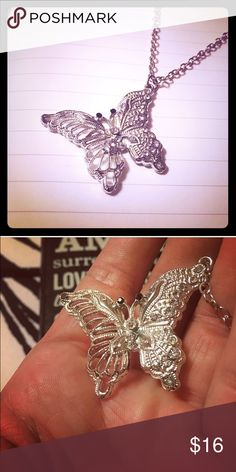 """Beautiful Butterfly Necklace Jeweled butterfly necklace with clear diamond like gems. Set in silver tone on a 25"""" total silver tone chain @sweeti Jewelry Necklaces"""