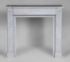 Small antique Louis XVI style fireplace in white Carrara marble - Reference 2687