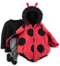 This  set features a shell with a vibrant ladybug design, a cozy, solid tee, and no-pinch tights for all-day fun.