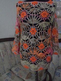 hairpin mercerized crochet blouse / poor sleeve by elmasmuhterem, $85.00