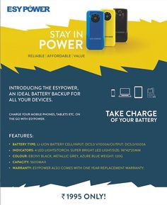 Buy Quality ESYPower @ ESY  -  Charge your mobile phone, tablets and other devices easily with quality ESYPower offered at ESY! They offer ESYPower in three different colours with the capacity of 5600 MAH and with one year replacement warranty. Shop today! http://esy.co.in/