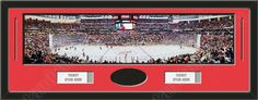 One framed large New Jersey Devils stadium panoramic with openings for one or two ticket stubs* and one or two 4 x 6 inch personal photos**, double matted in team colors to 39 x 13.5 in.  The lines show the bottom mat color. $179.99          @ ArtandMore.com
