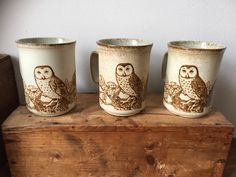 Vintage/Dunoon/owl/stoneware/mugs/jungalow/kitchen/cozy cuppa/ owls/tea/coffee/ hot chocolate /Còsagach Owl Mug, Wise Owl, Stoneware Mugs, Feeling Great, Hot Chocolate, Coffee Cups, How To Find Out, Candle Holders, My Etsy Shop