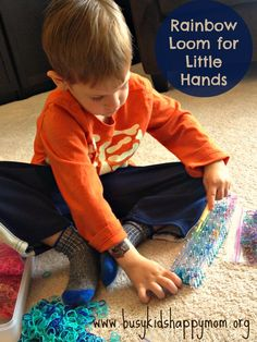 Have a loom in the house that your preschooler is anxious to try?  Here are some ideas on using your Rainbow Loom for Preschoolers - Busy Kids=Happy Mom