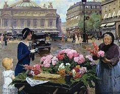 Flower Seller At The Place de l'Opera, Paris - Louis Marie de Schryver (1862 – 1942, French)
