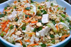 Chinese Chicken Salad – from the Southern Fried Radio Show Ingredients 2 Chicken Breasts, cooked, cooled, and cubed 2 pkgs Cole Slaw Mix . Asian Chicken Salads, Chinese Chicken, Chicken Wraps, Salada Light, Salad Recipes, Healthy Recipes, Ramen Recipes, Noodle Recipes, Sandwich Recipes