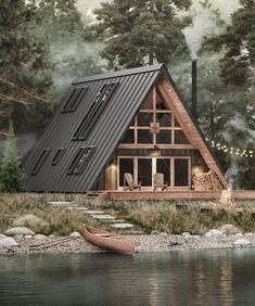 Tiny House Cabin, Tiny House Design, Cabin Homes, A House, Tiny Houses, Tiny House Family, Off Grid Tiny House, Cabin House Plans, Off Grid Cabin
