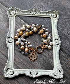 Baroque Pearl, Glass Bead and Vintage Rhinestone One of a Kind Bracelet..Soiree Two