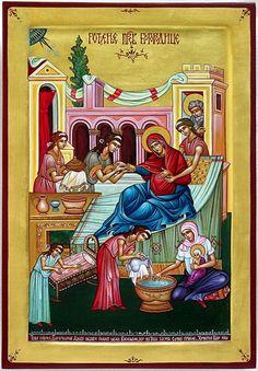 Rodjenje Presvete Bogorodice 20-25cm Orthodox Icons, Christianity, Greek, God, Painting, Vintage, Watercolor Painting, House, Dios