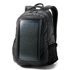 Samsonite solar power backpack for $149.99.  Trusted luggage name and can generate 4.5 watts.
