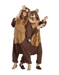 Celebrate the bare necessities on Halloween when you don this clever and comfortable adult brown bear pajama costume. This cozy one-piece outfit can be part of a great couples or group costume! Easy Costumes, Super Hero Costumes, Adult Costumes, Costumes For Women, Costume Ideas, Family Costumes, Cosplay Ideas, Animal Halloween Costumes, Halloween Onesie