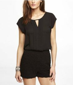 SHORT SLEEVE PLEATED KEYHOLE BLOUSE | Express LOVE this in multiple colors