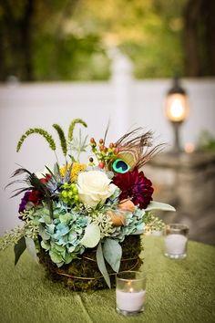 Nashville Garden Wedding Venue | Rustic Fall Jewel Tones | Centerpiece | Flowers | Candles - Photo: Dove Wedding Photography