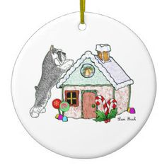 Lori_bush_art | Zazzle.com Store  #gingerbread #schnauzer #minischnauzer #miniatureschnauzer #ornament