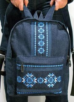 Jeans backpack with embroidery detail- very nice ! - Jeans backpack with embroidery detail- very nice ! Jean Backpack, Backpack Bags, Fashion Bags, Fashion Backpack, Mochila Jeans, Denim Tote Bags, Unique Handbags, Backpack Pattern, Denim Crafts