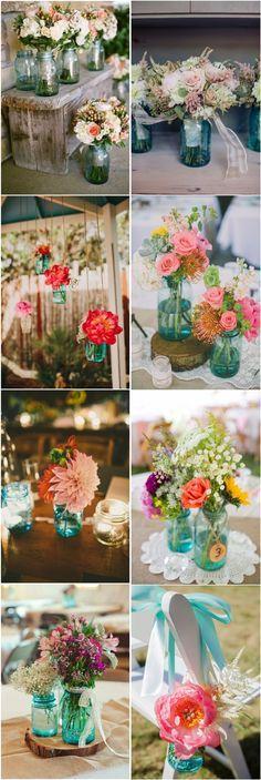 Rustic country wedding ideas- blue mason jar wedding decor ideas