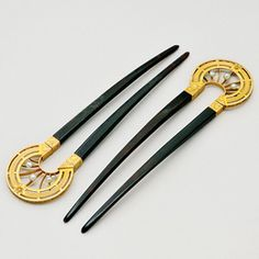 Antique Tortoiseshell, Pearl and 14K Gold Hair Pins , circa 1890 Art Nouveau