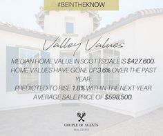 @coupleofagents || If you're a homeowner in the Valley, have you checked the value of your home recently? You might be surprised how much the value has increased!! And if you're looking to buy the value of your home could increase up to 12% over the next year. Now is the time to buy in AZ + watch your investment pay you back for years to come! #ValleyValues #CoupleOfAgentsRealEstate