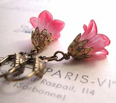 Red Valentine flower earrings with filigree shabby chic $18