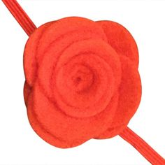 FUN 3-D Felt Rose Skinny Elastic Headband. Perfect for newborn and baby, but can be sized for older girls. Orange.