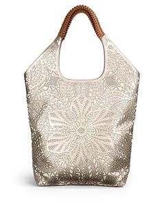nada sawaya - Mia Laser Cut Leather Shoulder Bag/Platinum - Saks.com