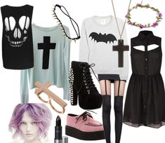Pastel goth outfit set