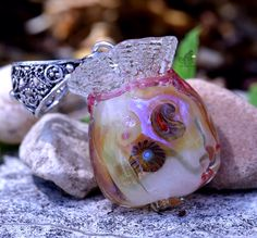 Lampwork bead glass pendant wish dream bag by FireMonkeyCreations on Etsy https://www.etsy.com/listing/201538046/lampwork-bead-glass-pendant-wish-dream