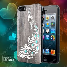 White Peacock Sketch Wood Case For iPhone 5, 5S, 5C, 4, 4S and Samsung Galaxy S3, S4 on Etsy, $14.79